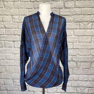 Zara Blue Plaid Sheer Blouse